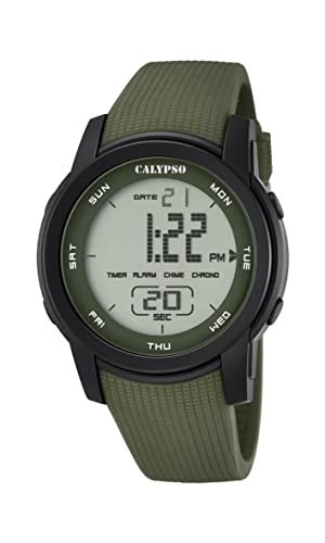 Calypso - Reloj Digital Unisex con LCD Pantalla Digital Dial y Correa de plástico Verde k5698/4: Amazon.es: Relojes