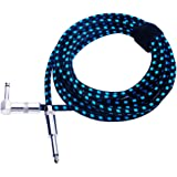 """Rayzm Guitar Cable-3 meters Noiseless Guitar/Bass Cord,1/4"""" Braided Angled Male Instrument Cable with Tweed Woven Jacket-Blue"""