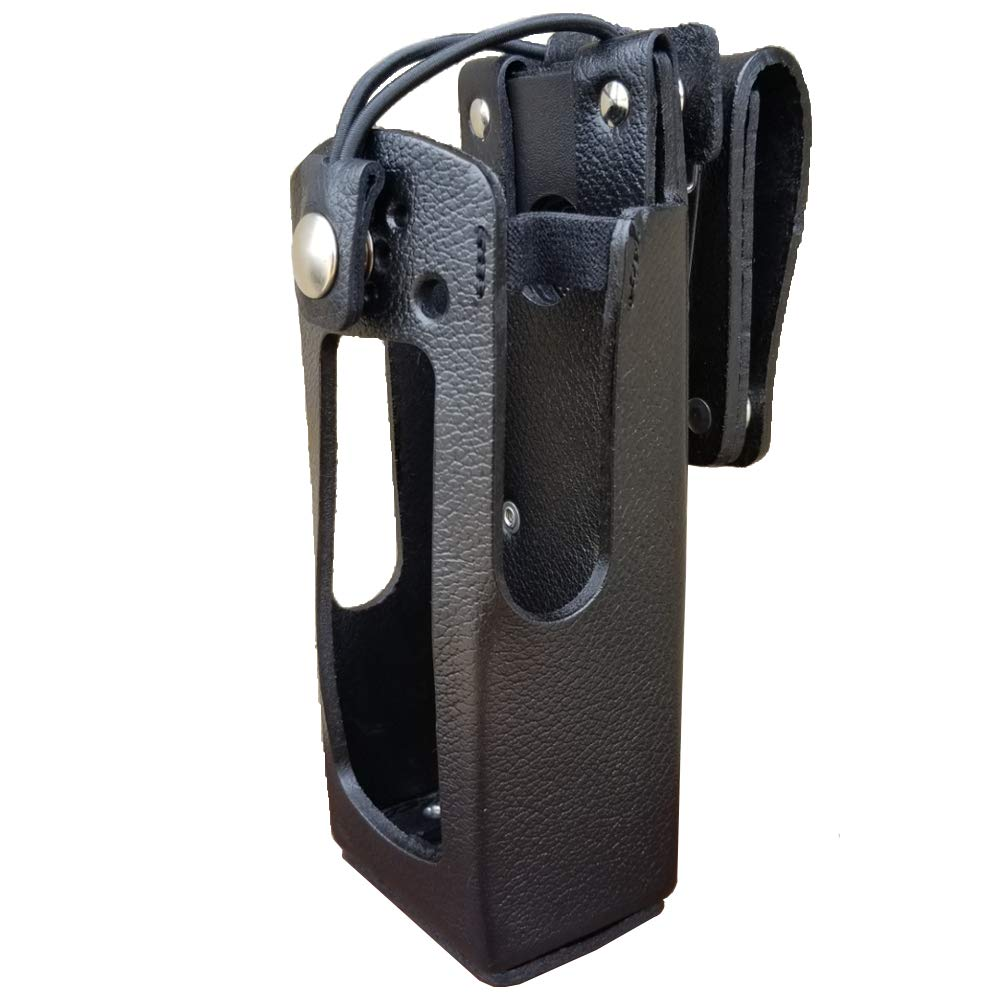 Case Guys GE7300-3BX Hard Leather Swivel Belt Loop Holster Case with Bungee Cord for Harris Unity XG-100P Two Way Radios