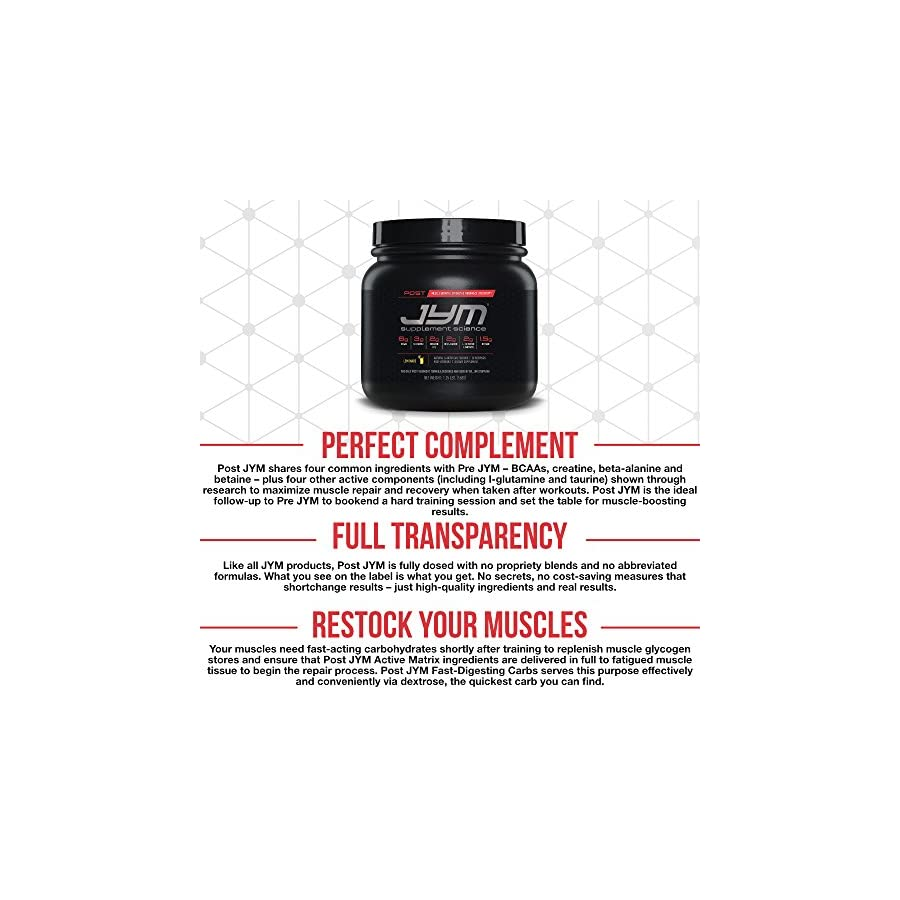 JYM Supplement Science, POST JYM Active Matrix, Natural Lemon Lime, Post Workout with BCAA's, Glutamine, Creatine HCL, Beta Alanine, L Carnitine L Tartrate, Betaine, Taurine, and more, 30 Servings