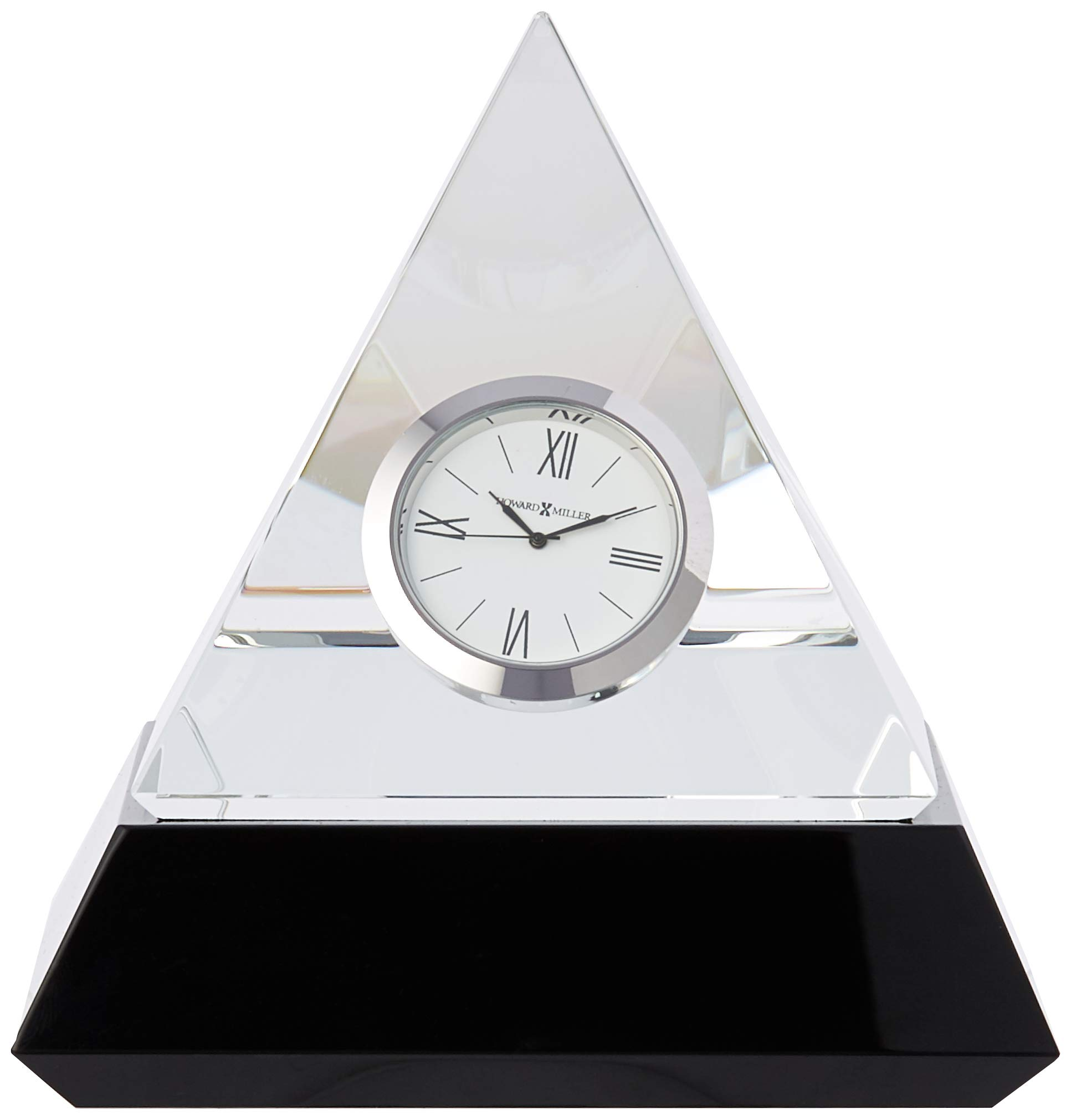 Howard Miller Summit Clock - An intriguing optical crystal pyramid clock sits on a solid black glass base. White dial with black numerals and hour markers, a glass crystal, surrounded by a polished silver-tone bezel. Comes in an elegant black presentation gift box. - clocks, bedroom-decor, bedroom - 61pcH0QCSyL -