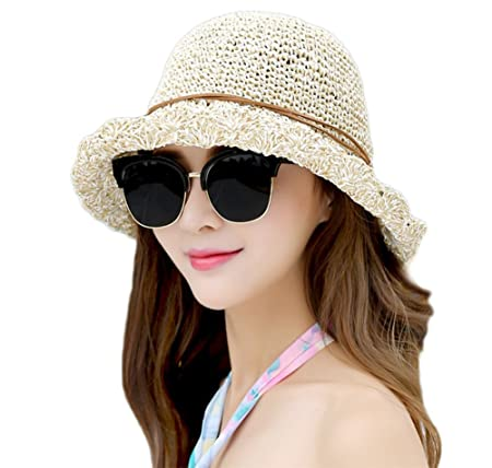 50e31f39c58 Scrox Fashion Sun Hat Summer Straw Hat Summer Beach Sun Cape Sun Protection  UPF 50+ Hats for Holiday Travel (Beige 7)  Amazon.co.uk  Kitchen   Home