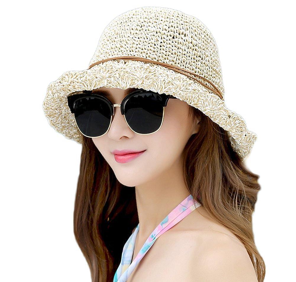 TREESTAR Casquillo casual de Panamá Encantador mujer sombrero de sol de borde redondo Paja sombrero para deportes al aire libre acampar playa primavera verano NP8LU1937TJ1W27V8C7LP