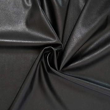 2a9de668416c designers-factory Tissu Simili Cuir Noir, Fin et Stretch - Tissu Faux Cuir -