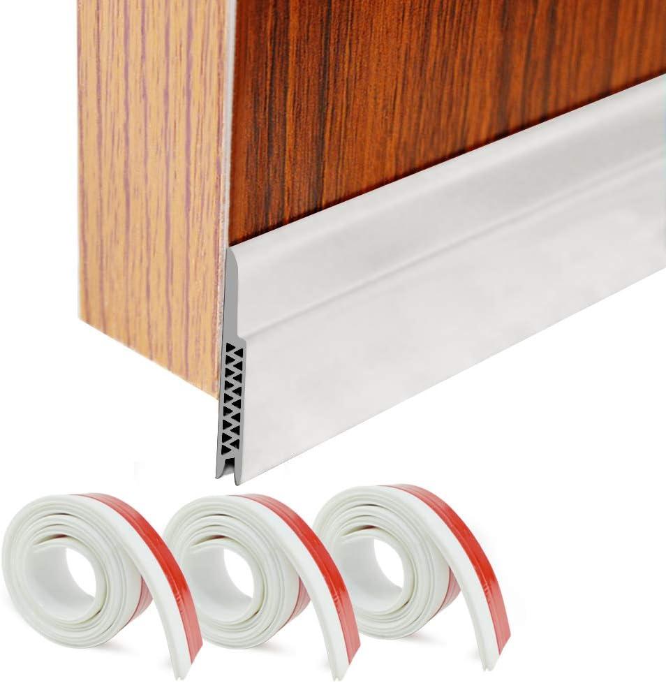 """HORLIMER Door Draft Stoppers Set of 3 White Under Door Sweep Seal Strip for Interior & Exterior Doors, 1.8"""" W x 39.3"""" L Silicone Door Bottom Weather Stripping Draft Blocker"""