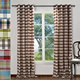 XINHUO Window Curtains Rod Check Plaid Cotton Nickel Grommet Eyelet Grommet Drapes Curtains For Living Room(Set of 2) For Sale