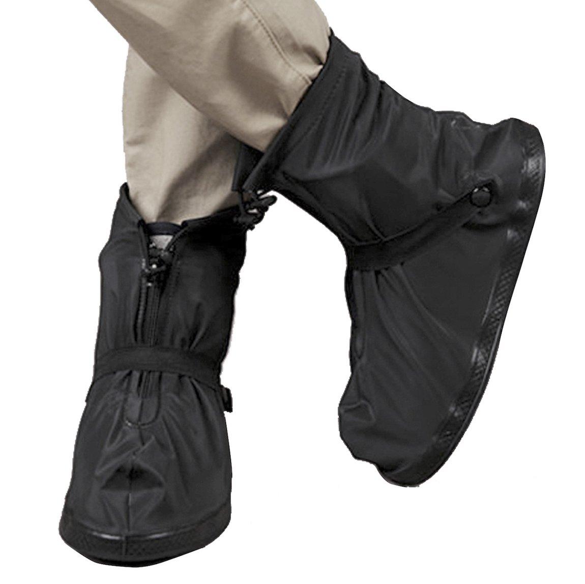 SZAT PRO Black Rain Boot Shoe Covers Waterproof Travel Snow Overshoes(XXXXL)