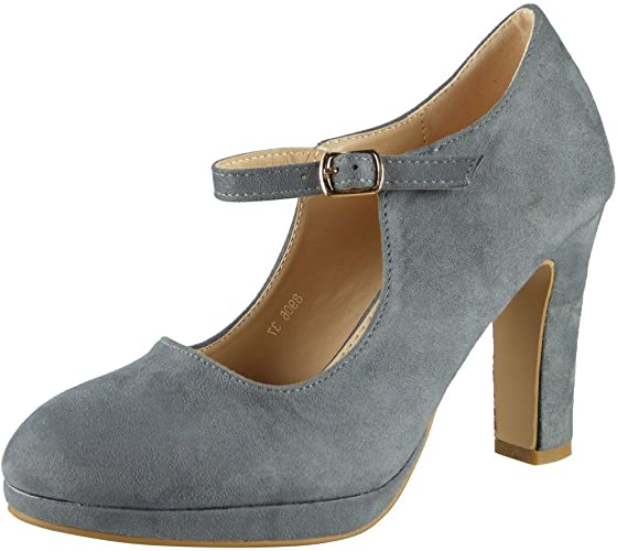 Ladies High Heels Court Shoes Womens Faux Suede Office Smart Mary Jane Shoe Size