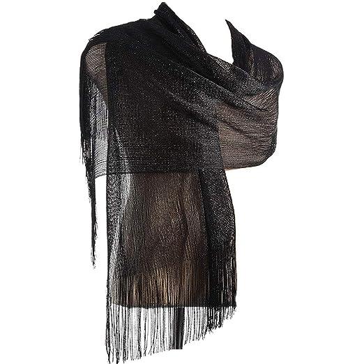 ae2f30a78c5e5 Womens Evening Wedding Shawls Sheer Metallic Bridal Wrap Scarf With Tassel  black at Amazon Women's Clothing store: