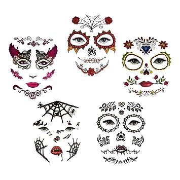 IPOTCH 5pcs Kit de Tatuaje de Cara Temporal Pegatinas Fiesta ...