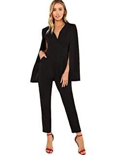 294d3db65eb3 MAKEMECHIC Women s Plunging Neck Wrap Front Tailored Cloak Sleeve Cape  Solid Jumpsuit