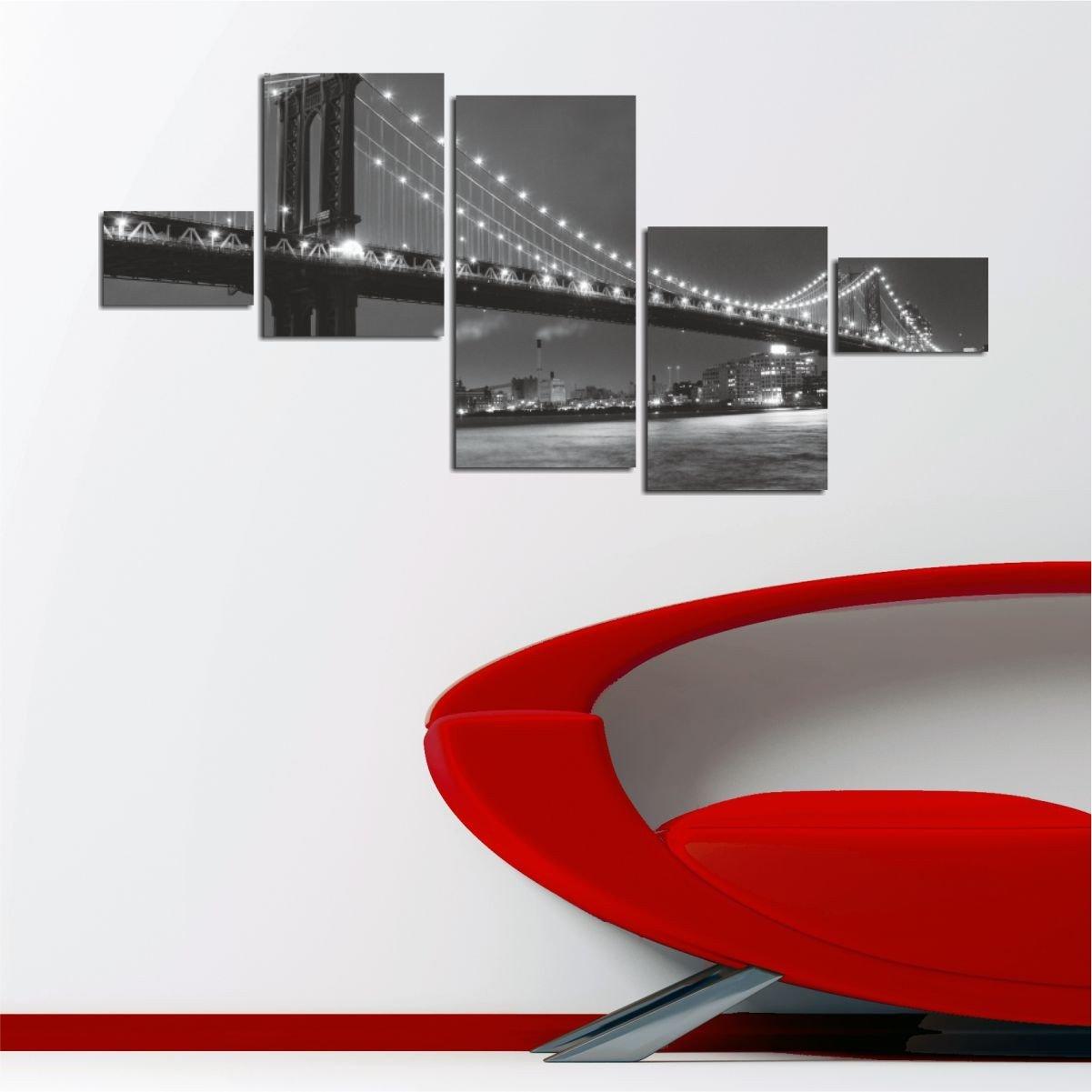 LaModaHome Decorative 100% MDF Wall Art 5 Panels (22'' x 9.4'' Total) Ready to Hang Painting Night Light Bridge Structure Brooklyn America Sea