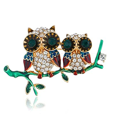 YWRD Broches para Las Mujeres Lovely Oil Dripping Double Owl ...