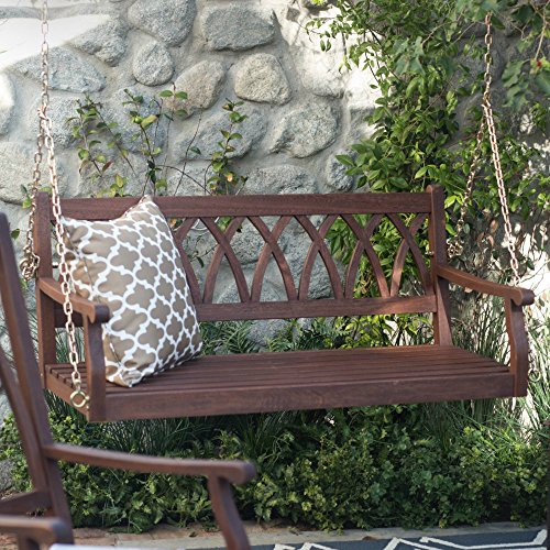 Front Porch Swing 2 Person Wooden Patio Outdoor Yard Garden Seating, Hanging Chains Curved X Back, Dark Brown, 4 ft.