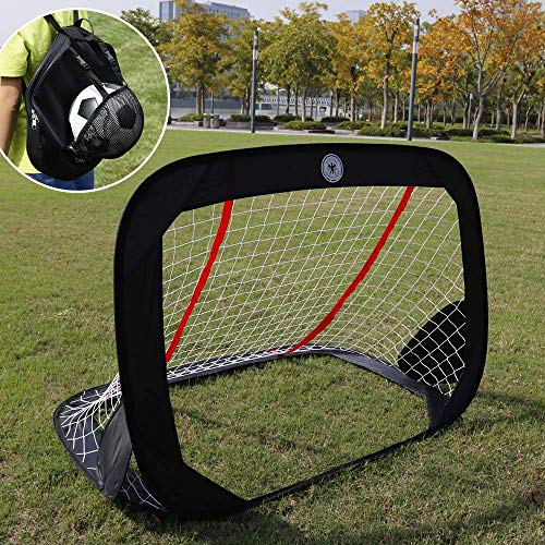 "WISHOME 47.3"" Folding 4FT Pop-Up Goal Collapsible Children's Soccer Goal for Backyard Football Gate Soccer Net for Kids Outdoor Sport Toys Ideal Gift for Children"