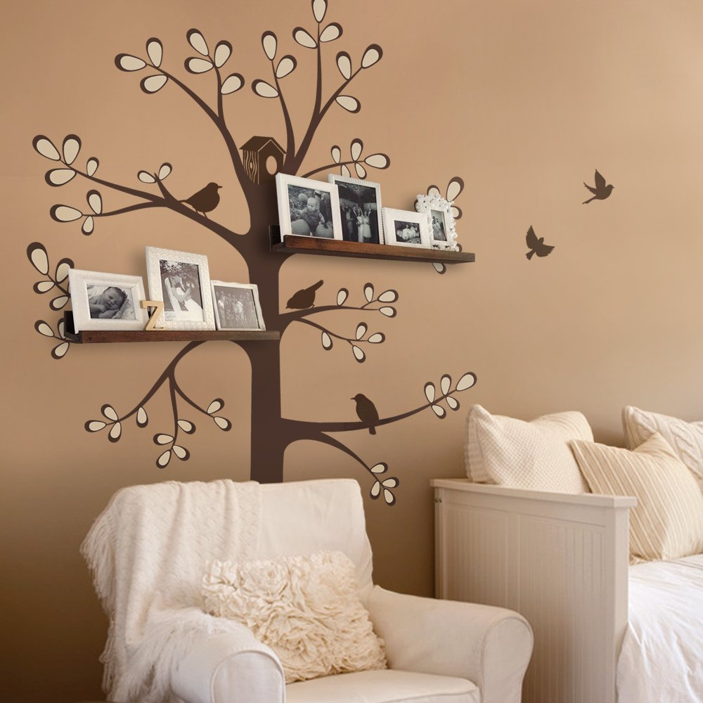 New Style Shelving Tree Wall Sticker with Birds - by Simple Shapes (Standard Size (approx): 55''w x 94''h, Scheme A) by Simple Shapes (Image #1)