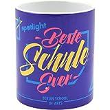 Becher Tasse auf Fuß OMBRE Stripes 400ml weiß blau Porzellan KitchenCraft