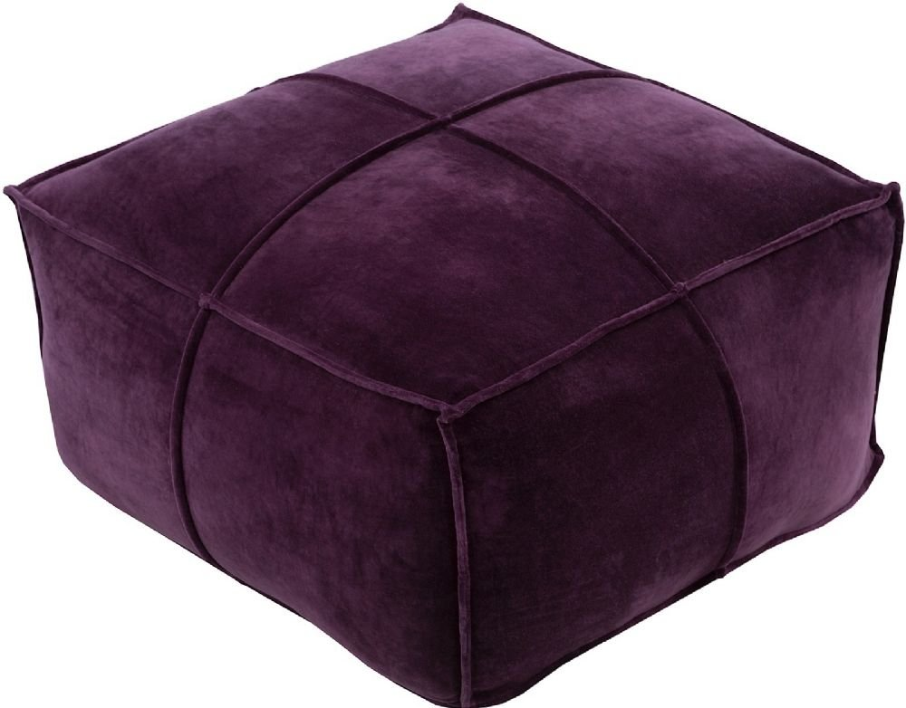 Surya Solid/Striped Square pouf/ottoman 24''x24''x13'' in Purple Color From Cotton Velvet Collection