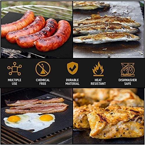 CRJT Shop 5Pcs Barbecue Grill Barbecue Mat, antiadhésif Barbecue Grill, réutilisable, Facile à Nettoyer, adapté à la Cuisson, Charbon de Bois, Four et Barbecue électrique