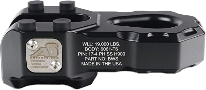 Lightweight Aluminum Winch Attachment for Synthetic Line Raw Aluminum 19,000 Pound Load Limit Agency 6 Billet Winch Shackle Made in The USA with US Certified Materials