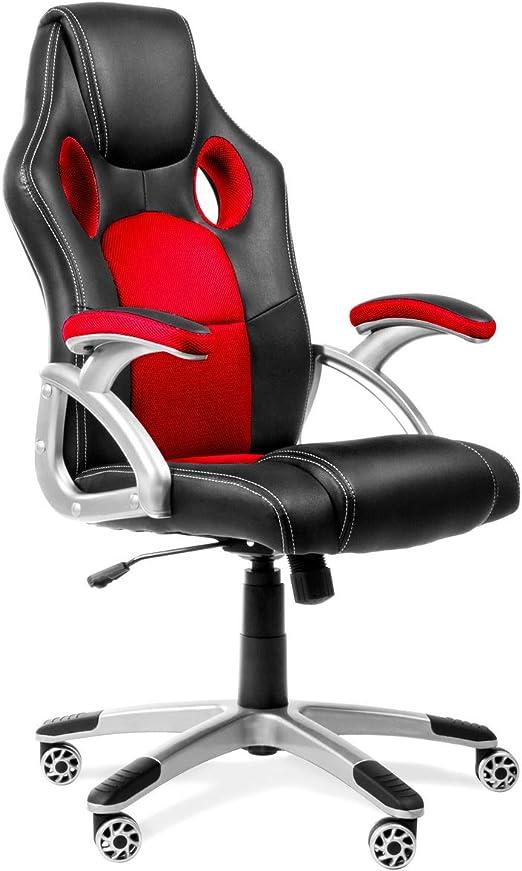 Todo para el streamer: RACING - Silla gaming oficina color rojo silla de escritorio racing ergonómica sillón de despacho giratorio con reposabrazos y altura regulable 65x54x120cm