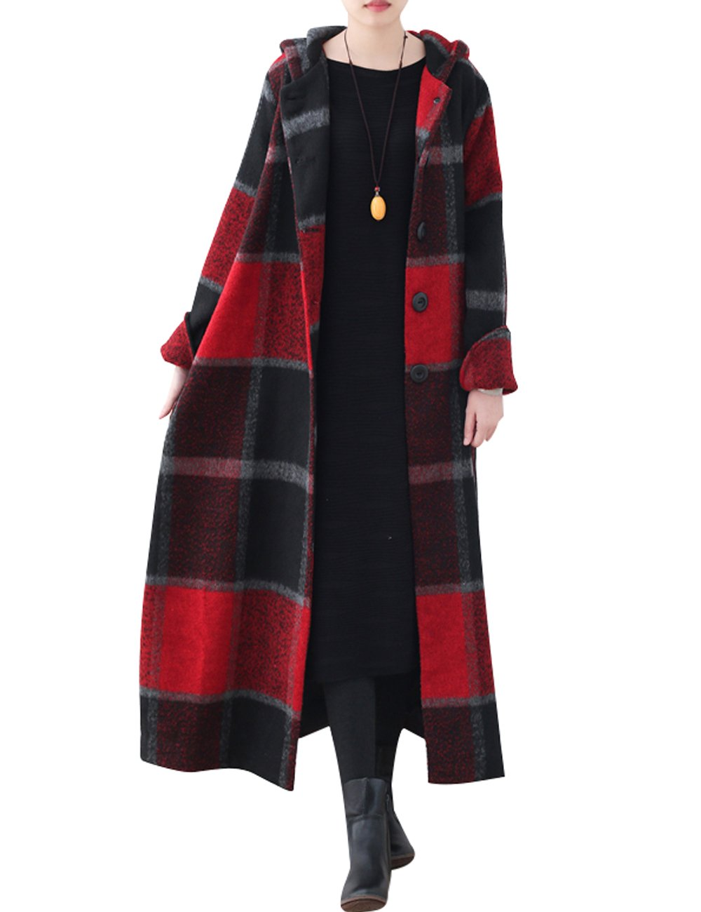 Zoulee Women's Winter New Long Wool Coat Lattice Trench Coat With Hooded Style 1 Red