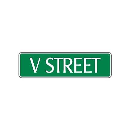 Amazon Com V Street Name Letter Aluminum Metal Novelty Street Sign