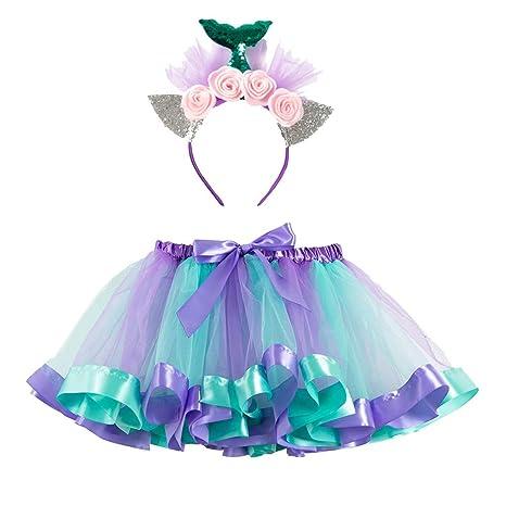 Finebo - Conjunto de tutú, falda de tul y diadema, verde, small ...