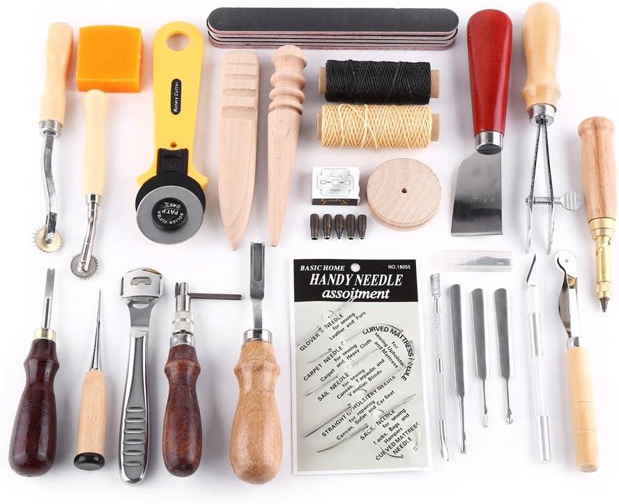 Herramientas de Artesanía de Cuero, Kit de Costura de Cuero con Saddle, Groover, Punzón de Perfomación, Kit de Estampado de Hilo