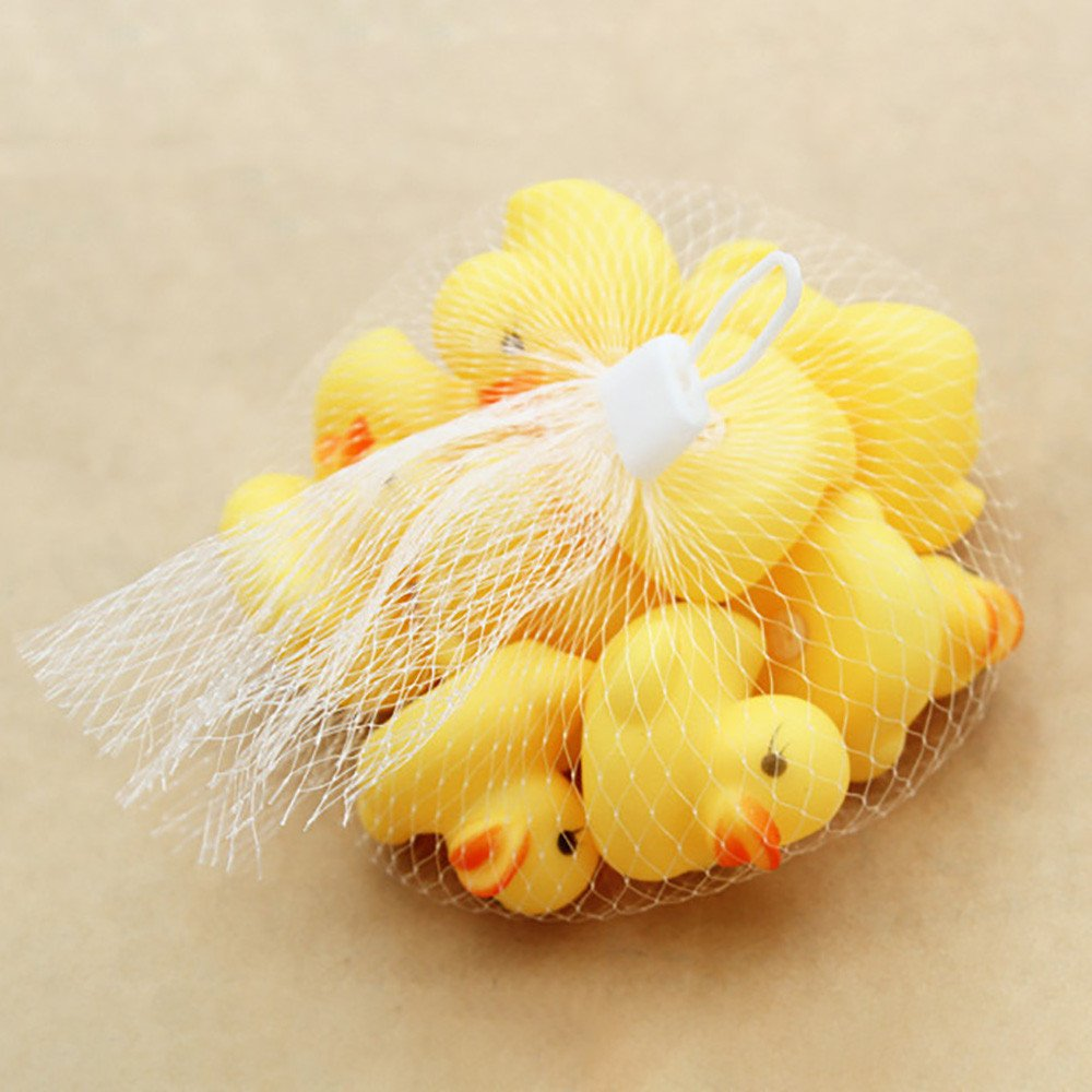 CHENWENEED Juguetes Bebe,10PC Squeezing Call Rubber Duck Ducky Duckie Baby Shower Favores de cumplea/ños Amarillo