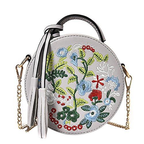 (Women's Ethnic Style Embroidered Round Crossbody Shoulder Bag Top Handle Tote Handbag Bag )