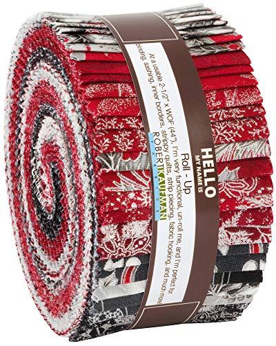 Peggy Toole Holiday Flourish 12 Scarlet Roll Up 40 2.5-inch Strips Robert Kaufman RU-824-40