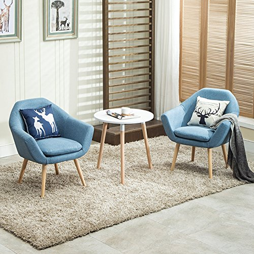Magshion 2 Pcs Elegant Upholstered Fabric Club Chair Accent Chair W/2 Free Pillows (Blue) - Barrel Club Chair