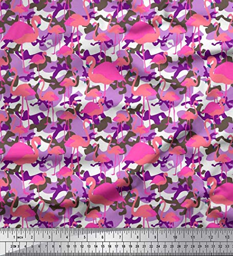Texture Voile Cotton - Soimoi Purple Cotton Voile Fabric Camouflage Texture & Flamingo Bird Printed Fabric 1 Yard 42 Inch Wide
