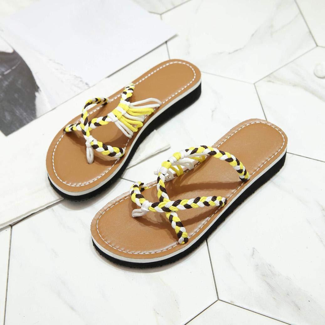 3deb06b7c FORUU Women Fashion Knit Knots Flat Heel Round Toe Sandals Beach Shoes Flip  Flops YE  Amazon.co.uk  Shoes   Bags