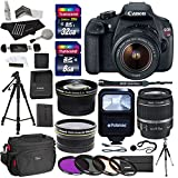 Canon EOS Rebel T5 EF-S 18-55mm f/3.5-5.6 is STM Lens + Polaroid .43 Wide Angle & Telephoto Lens + Transcend 32GB 8GB Memory Cards + Filter Set + Flash + 57″ Tripod + Ritz Gear Bag + Accessory Bundle