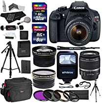Canon EOS Rebel T5 EF-S 18-55mm f/3.5-5.6 IS STM Lens + Polaroid .43 Wide Angle & Telephoto Lens + Transcend 32GB 8GB Memory Cards + Filter Set + Flash + 57