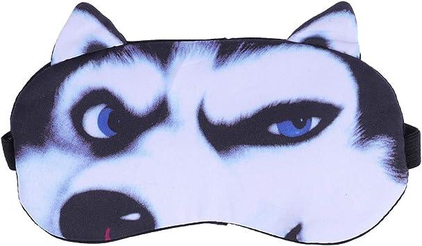 Supvox Máscaras de dormir de algodón 3D Parche de protector Correa ajustable de la correa con gel frío/caliente Sonriendo perros esquimales: Amazon.es: Salud y cuidado personal