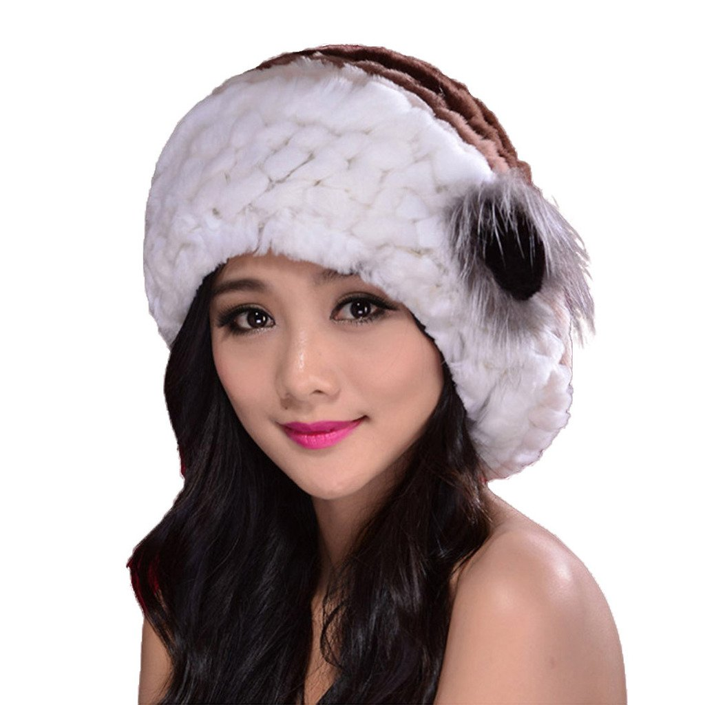 Fur Story 14601 Women's Knitted Real Rabbit Fur Hat Flower Beret Hat Brown and White