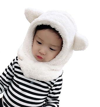 Boomly Bébé Chapeau d hiver Neck Warmer Oreillette Chaud Bonnet Echarpe  Beanies Chapeaux Oreille mignon 3943d38bc18