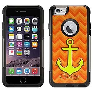 Skin Decal for Otterbox Commuter Apple iPhone 6 Case - Anchor on Chevron Zig Zag 2 Tone Orange