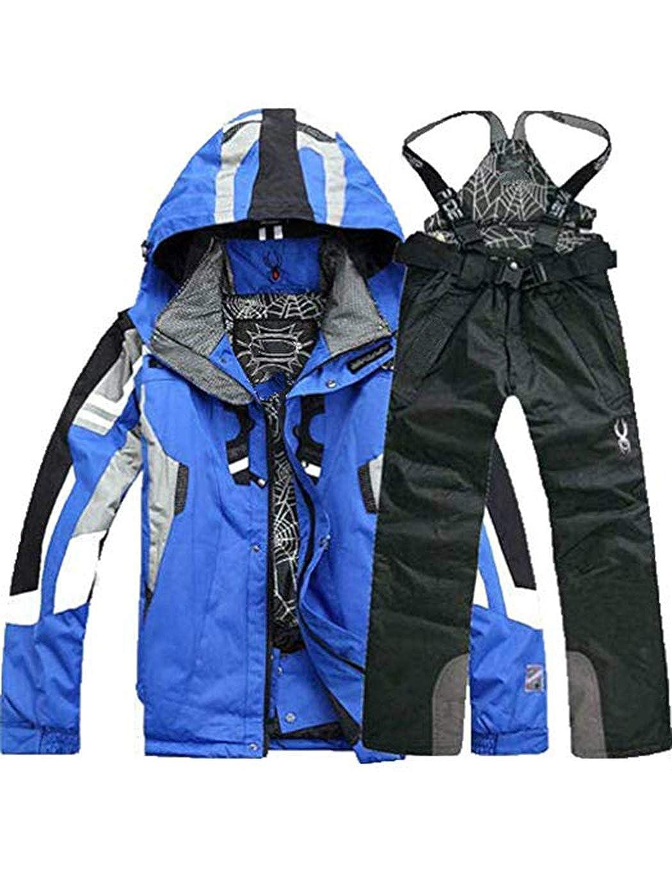 Oplon Uomo Giacca da Sci e Pantaloni da Sci Patchwork Sportive Tuta da Sci da Uomo Inverno Giacca da Alpinismo Antivento e Impermeabile Pantaloni da Sci