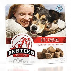 Besties Dog Treats | Freeze Dried Beef Chunks | 6.72 oz | Grain Free | Human Grade | Healthy
