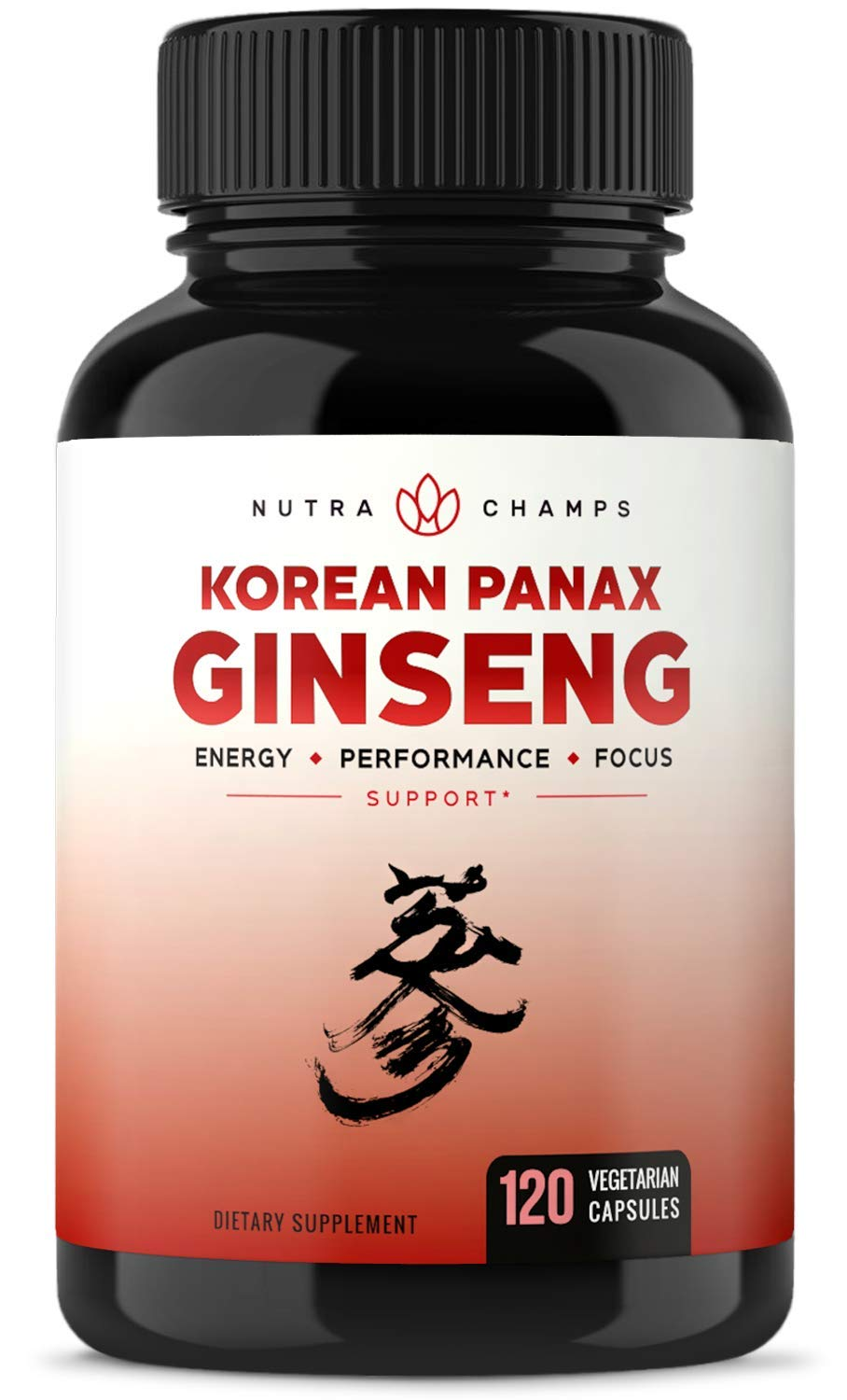 NutraChamps Korean Red Panax Ginseng 1000mg - 120 Vegan Capsules Extra Strength Root Extract Powder Supplement w/High Ginsenosides for Energy, Performance & Focus Pills for Men & Women by NutraChamps