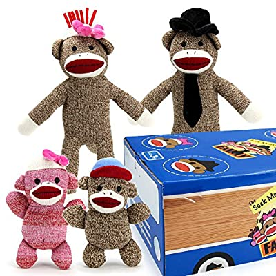 Sock Monkey Family The Woodie Wagon Carrying Case - Includes Mr. Coconuts, Cupcake, Daisy May, Joey- Set of 4 Plush Stuffed Animal Toys