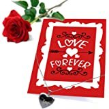 TiedRibbons® Special Gift for wife Love you forever Printed Greeting Card with Locket and Red Rose
