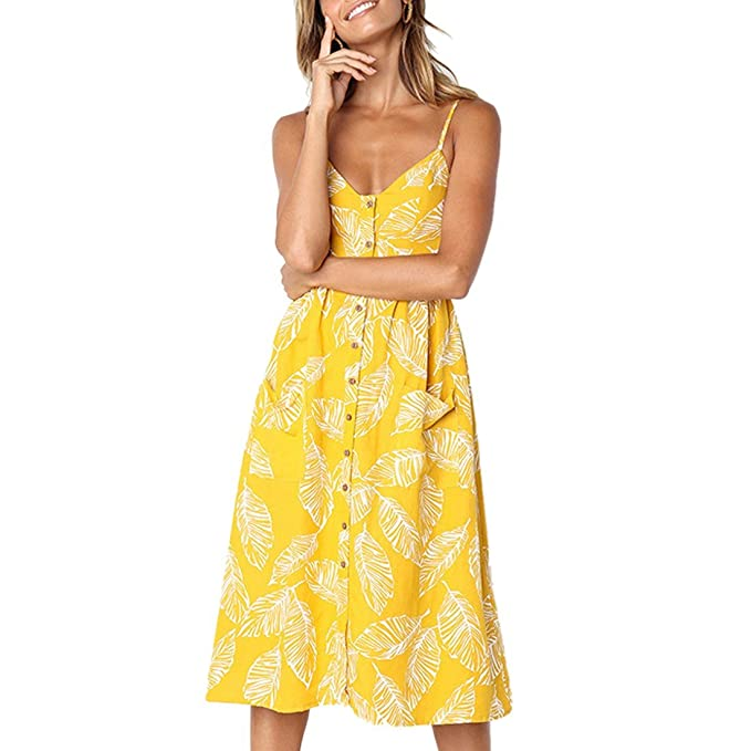 Vestidos de Mujer Summer Floral Bohemia Correa de Espagueti Abotonado Vestido Midi Swing con Bolsillos 27