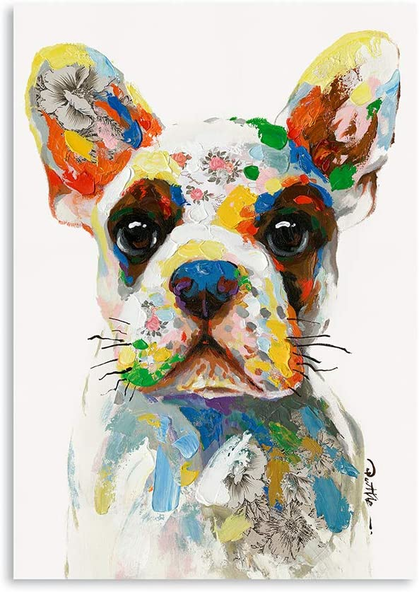 """B BLINGBLING Bulldog Canvas Wall Art Wall Pictures: Funny Puppy with Colorful Dots Teen Room Decor Aesthetic Large Wall Art Canvas Pictures for Wall Ready to Hang (12""""x16""""x1 Panel)"""