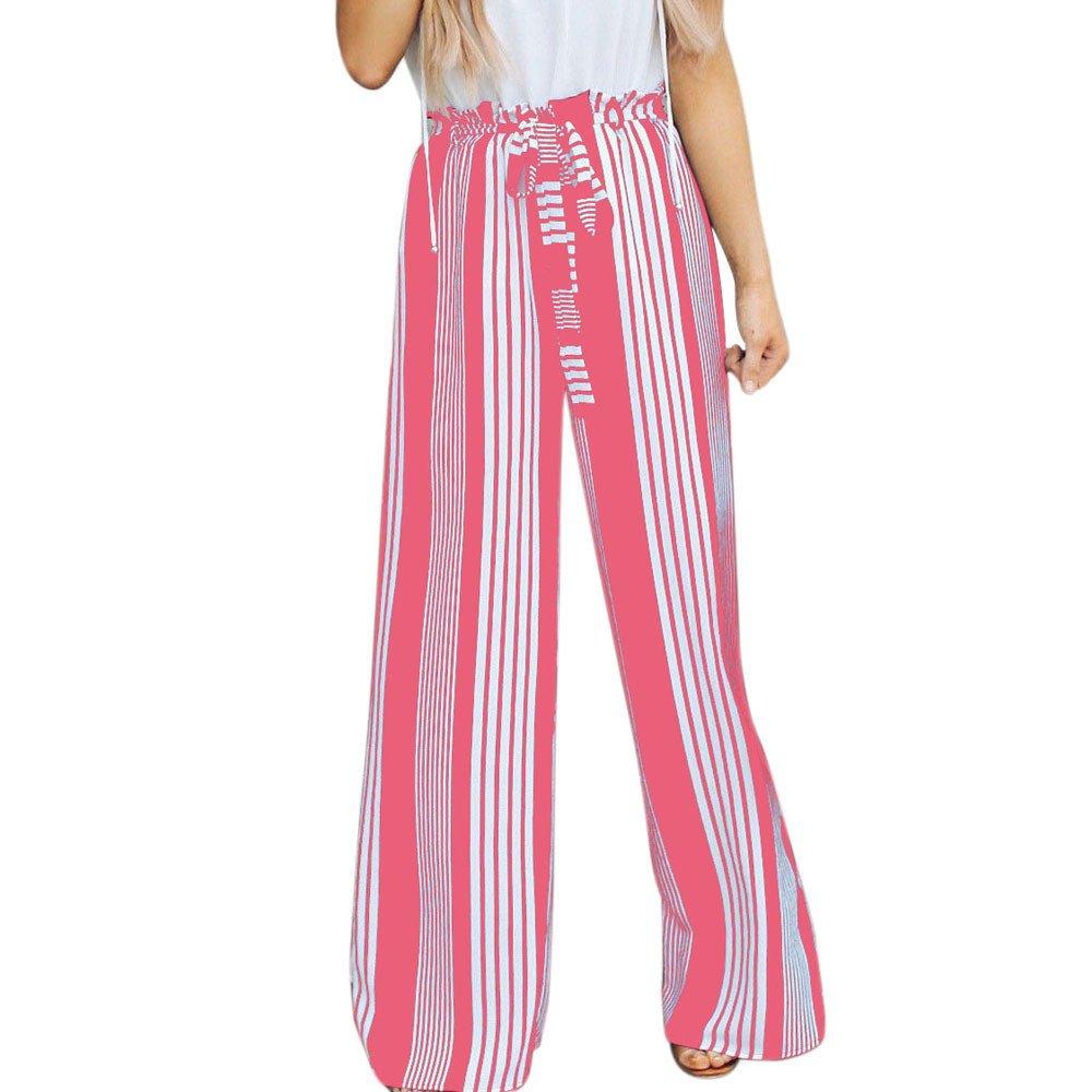 Womens Summer Ruffles High Waist Pants Loose Wide Leg Striped Long Leggings OL Ladies Office Outwork Trousers