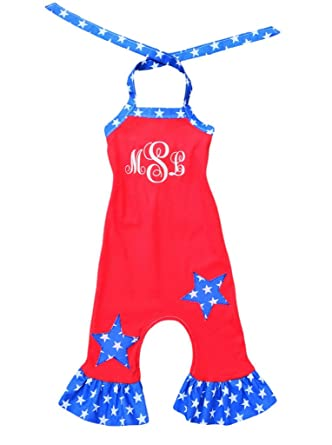 0da4f0870116 Image Unavailable. Image not available for. Color  4th Of July Stars 1  Piece Girl Romper Toddler Personalized Pageant Wear Outfit
